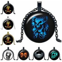 2019 New Creative Necklace Wild Skull Gift Glass Convex Personality Pendant Necklace Fashion Jewelry 2019 new creative necklace green four leaf clover gift glass convex personality pendant necklace fashion jewelry