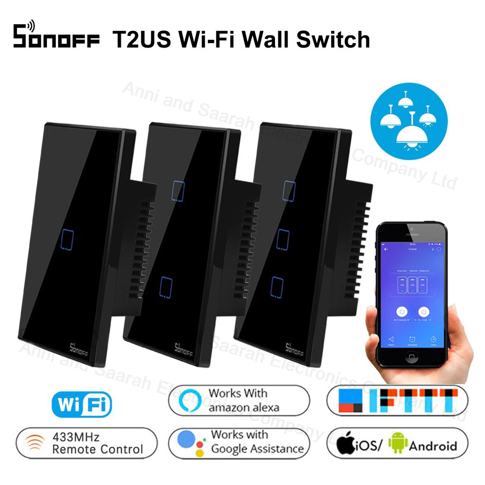 Sonoff T3 T2 US Smart Wifi Wall Touch Light Switch 1 2 3 Gang Touch/WiFi/ RF/APP Remote Smart Home Controller Work With Alexa