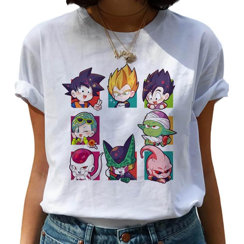 Dragon Ball Z Harajuku Funny   T     Shirt   Women Kawaii Son Goku Anime   T  -  shirt   Super Saiyan Ullzang Tshirt 90s Graphic Top Tees Female