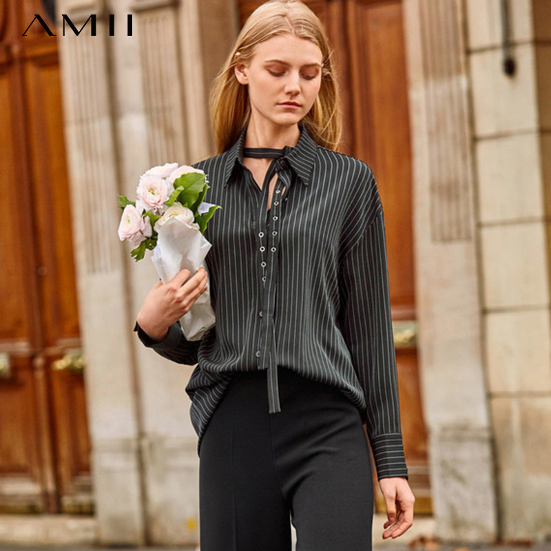 Amii Minimalist Striped Long Shirt Autumn Women Adjustable Turn Down Collar Or Strap Streamer Female Blouse Tops 11940094