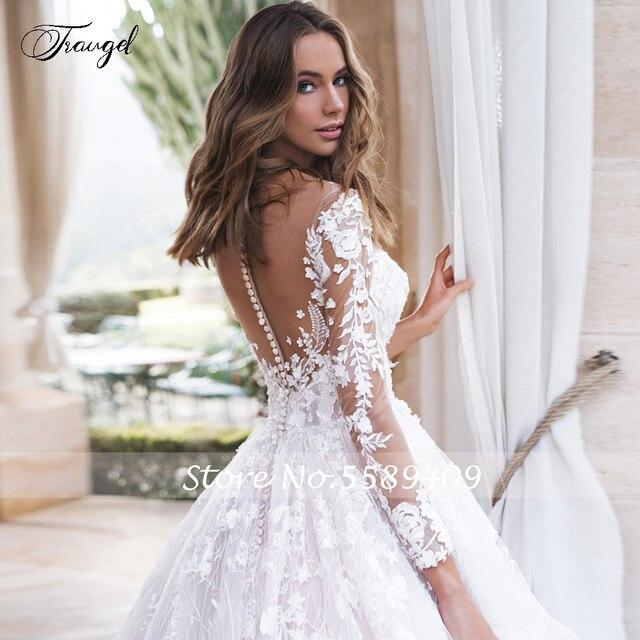 Traugel Scoop A Line Lace Wedding Dresses Elegant Applique Long Sleeve Button Bride Dress Cathedral Train Bridal Gown Plus Size 4