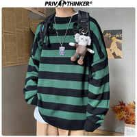 Privathinker Hommes Rayé décontracté Tricoté Pull hommes Coréens Collage Automne hauts pullover Hommes O-cou Pull Oversize Mode