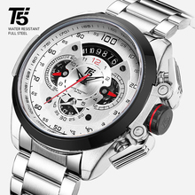 T5 ยี่ห้อ Luxury Black Gold ชายนาฬิกาทหาร QUARTZ Sport นาฬิกาข้อมือผู้ชาย Chronograph Mens นาฬิกาข้อมือกีฬา