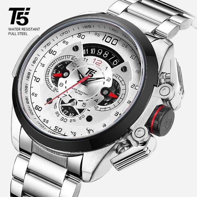 T5 מותג יוקרה שחור זהב זכר שעון צבאי קוורץ ספורט שעון יד גברים הכרונוגרף עמיד למים Mens שעוני ספורט שעוני יד