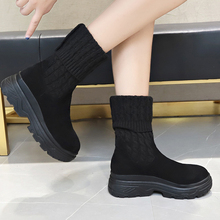 2019 New Fall Boots Women Fashion Sock Ladies Slip On High Platform Black Rubber Ankle