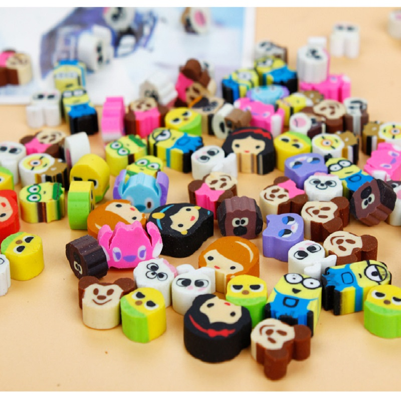 100 Pcs/ Lot Mixed Small Size TPR Cartoon Rubber Erasers Creative Learning Stationery Correction Supplies For Kids