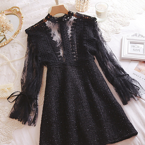 Image 4 - Young Gee Elegant Embroidery Party Dresses Spring Autumn Flare Sleeve Lace Floral Tweed Patchwork Office Lady Mini Dresses robe