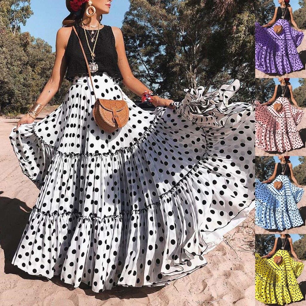 Women High Waist Polka Dot Printed Long Skirt Loose A-line Ruffled Pleated Skirt Maxi Evening Party Skirt Jupe Femme 2019#G1