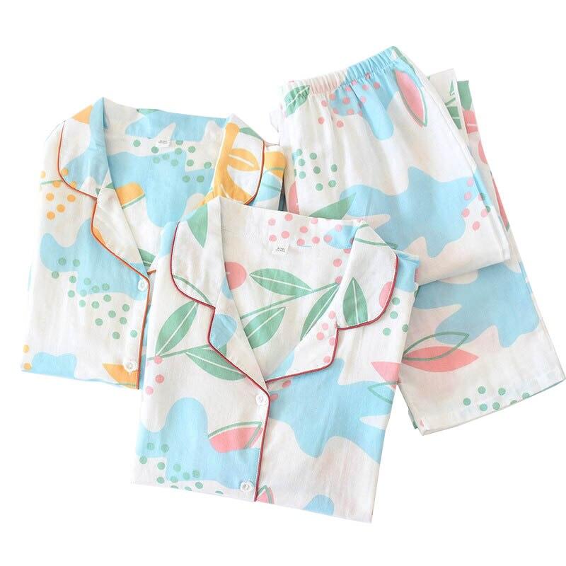 2020 Spring New Women Fresh Style Pajamas Set Ladies Turn-down Collar Gauze Cotton Sleepwear Comfort Loose Thin Homewear