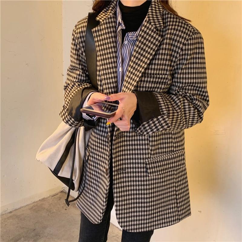 HziriP 2020 New Vintage Single Breasted Office Ladies Plaid Blazer Long Sleeve Work Loose Suit Coat Jacket Women Blazers Female