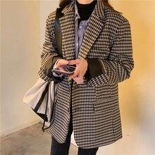 HziriP 2020 New Vintage Single Breasted Office Ladies Plaid Blazer Long Sleeve W