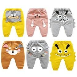 Штаны для новорожденных мальчиков и девочек с героями мультфильмов весенние брюки с высокой талией детские осенние штаны на подгузник штан...