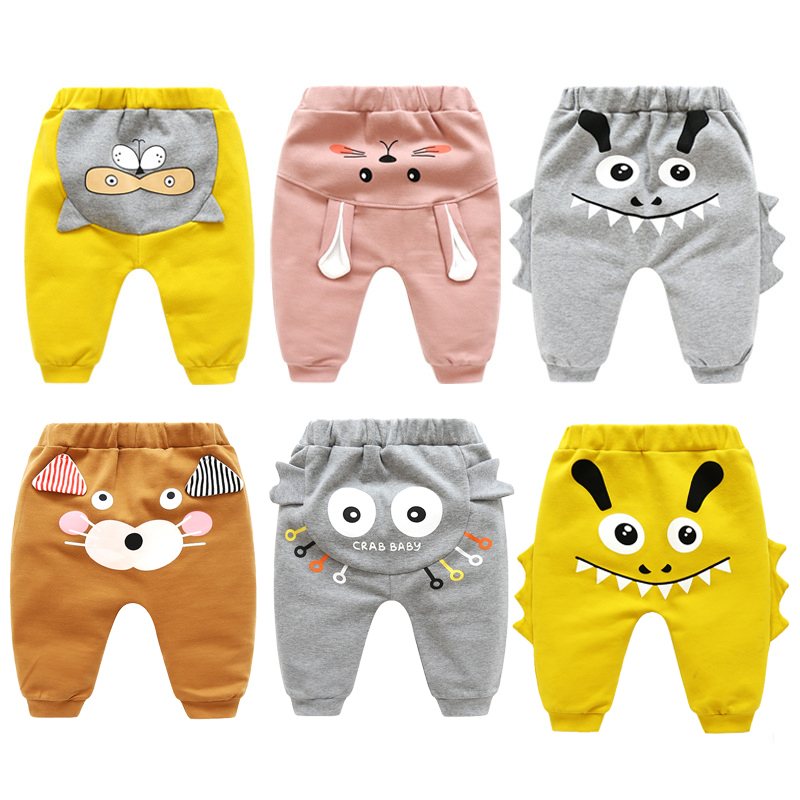 New Born Baby Boys Girls Cartoon Pants Spring High Waist Guard Belly Trousers Infant Baby Autumn Pp Pants Animal Print Bottoms