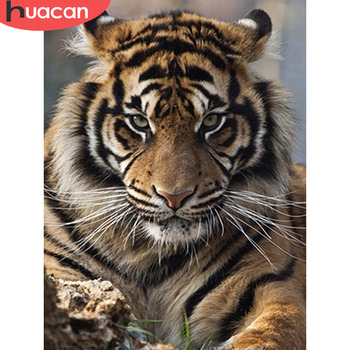 HUACAN Diamond Embroidery 5D DIY Painting Tiger Full Square/Round Drill Mosaic Cross Stitch Decoration - discount item  39% OFF Arts,Crafts & Sewing