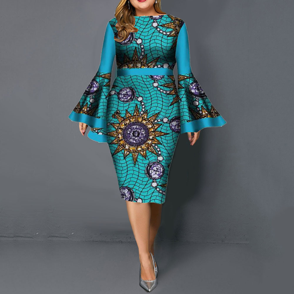 African Ladies Plus Size Bodycon Maxi Dress O-Neck Flare Sleeve Dresses Woman Party Night Vestidos 2020 Spring Robe Femme