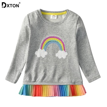DXTON Girls Winter T-shirts Rainbow Long Sleeve Tops For Girls Toddler Kids Blouse Cotton Children Tees Christmas Girl Clothes girls monogram ruffle sleeve raglan shirts multiple colors monogramable raglans toddler girls icing shirts christmas icing tops