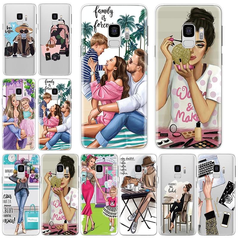 Marrón de la moda pelo mamá bebé chica caso para Samsung Galaxy S8 S9 S10 más S10e S7 borde Nota 9 10 A90 A80 A70 A60 A50 A40 A30 cubierta