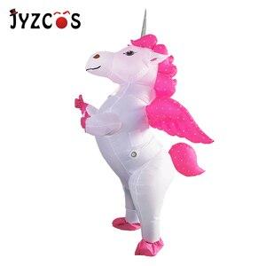 Image 1 - JYZCOS Costume licorne gonflable pour adultes et enfants, Costumes dhalloween arc en ciel, pour femmes et hommes, mascotte de carnaval, purine, Cosplay de noël