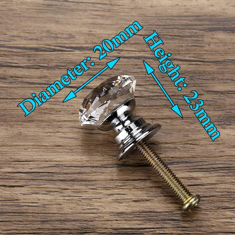 KAK 20-40 мм Алмазная форма дизайн Хрустальные стеклянные ручки шкаф выдвижной ящик Кухонный Шкаф Дверь Шкаф ручки Фурнитура - Цвет: 20mm