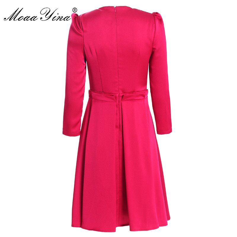 Image 2 - MoaaYina Fashion Designer dress Spring Autumn Womens Dress 3/4 sleeve Slim Elegant Ball Gown DressesDresses
