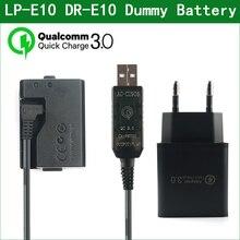 USB di QC3.0 allaccoppiatore fittizio di cc del ACK E10 della batteria di LP E10 di LP E10 per Canon EOS 1100D 1200D 1300D 1500D 2000D 3000D
