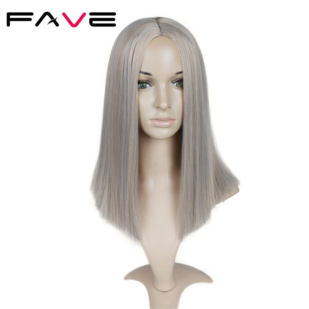 Fave Mixed Gray Ash Blonde Black Pink Straight 14 Inch Synthetic Wigs For Black Women Hair Cosplay Wigs Heat Resistant Fiber