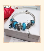 High Quality Original 1:1 100%925 Sterling Silver Ocean Glass Cat Eye Charm Key Pendant Chain Bracelet Free Delivery