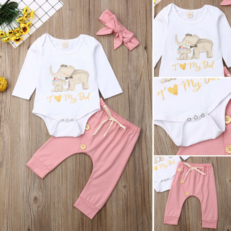 A Set Of Newborn Baby Girl Clothes Long Sleeve Elephant Pattern Romper+Long Leggings Pants Outfits
