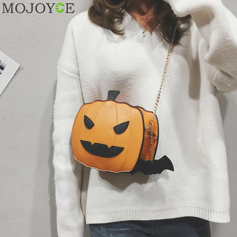 Cartoon Cute Pumpkin Shoulder CrossbodyBag PU Leather Women Halloween Small Chain Messenger Bags