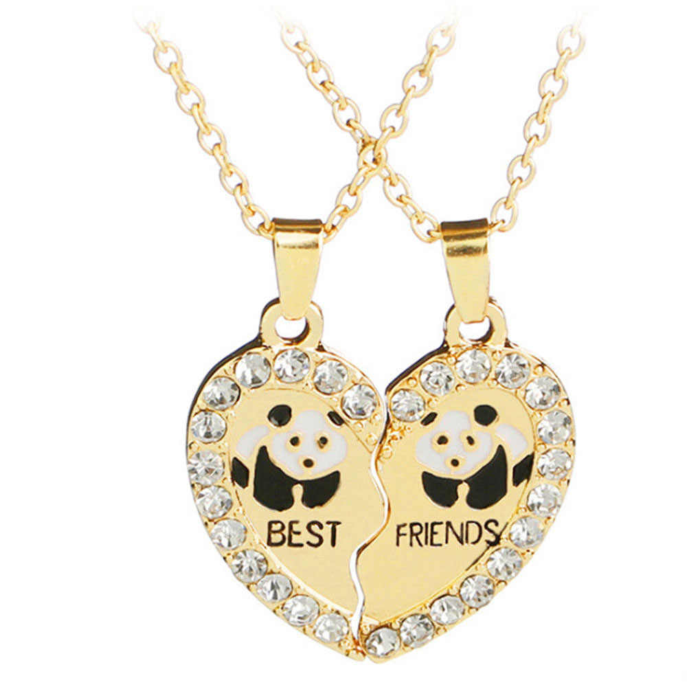 "Broken Couple Gift Necklace 2 Pcs/set Heart 2 Parts Animal Panda ""best Friend"" Love Pendant Necklace"