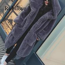 Rubilove 4XL coat Winter Faux Fur Coat Women 2019 Long Warm Jacket Casual Hoodies Loose Pocket Outwear Plus s