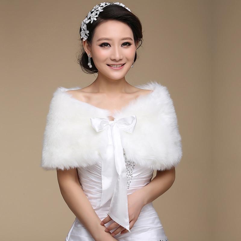 Hot Sale 2020 New White Faux Fur Wedding Shawls And Wraps Bridal Jacket Coat Wedding Accessories Faux Fur Wraps