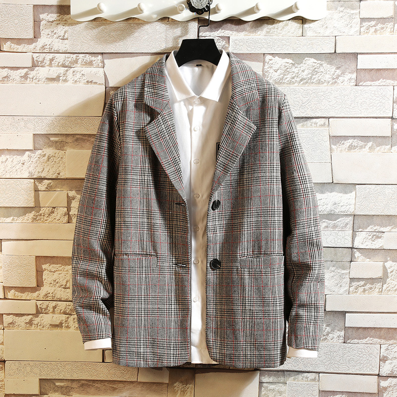 2019 New Luxury Classic Men'S Casual Plaid Blazer Autumn Spring Fashion Brand Loose Long Suit