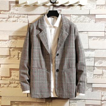 2019 nowa luksusowa klasyczna męska Casual Plaid Blazer babie lato moda marka luźny długi garnitur tanie i dobre opinie Lance Donovan COTTON Poliester REGULAR Pojedyncze piersi Blazers Pełna Na co dzień XZ226-1-7716