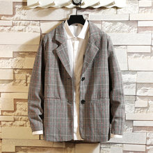 2019 neue Luxus Classic Men'S Casual Plaid Blazer Herbst Frühling Mode Marke Lose Lange Anzug(China)