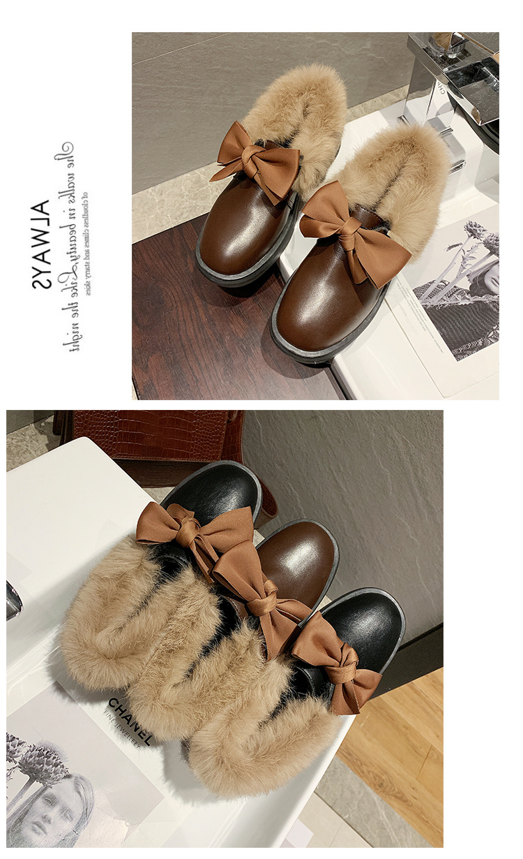 2019 winter long plush warm fur shoes bow tied decorate slip-on leather bullock shoes woman anti-skid chunky leisure espadrilles 56