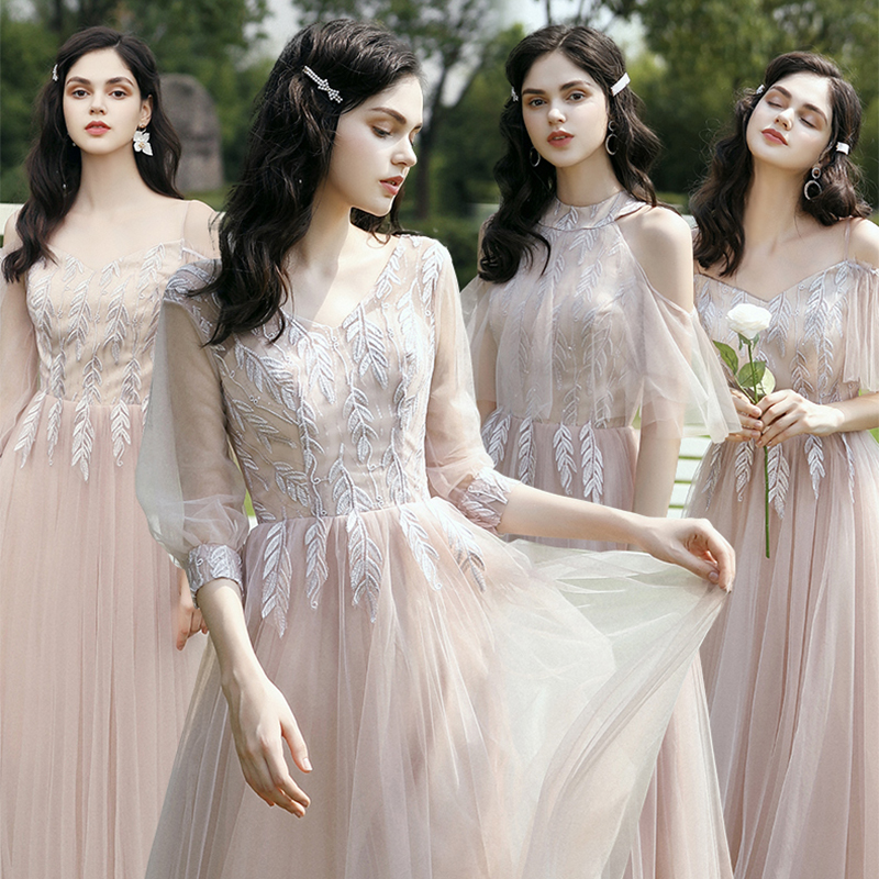 Formal Bridesmaid Dresses Embroidery Pattern Wedding Party Gowns V-Neck Half Sleeve A-Line Ankle-Length Elegant Women Dress R063