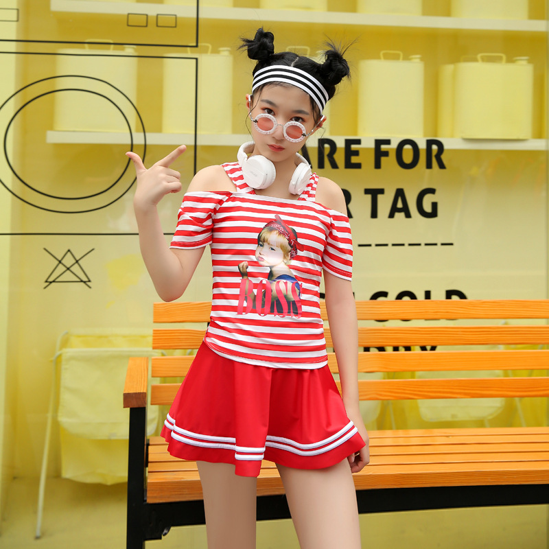 South Korea New Style One-piece Swimsuit For Children Large Children Students Dress-Boxer Swim Bathing Suit