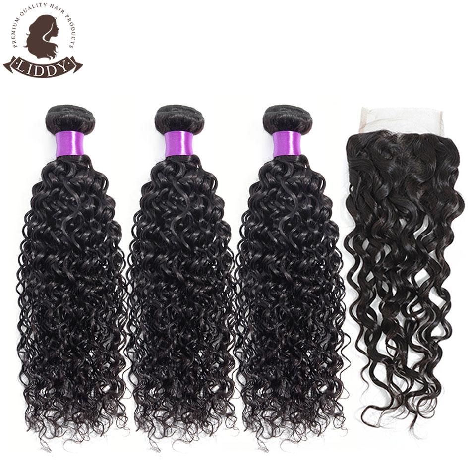 Liddy Bundles With Closure Malaysian Water Wave Hair Bundles With Closure 100% Human Hair Natural Color Non-remy Hair Extensions