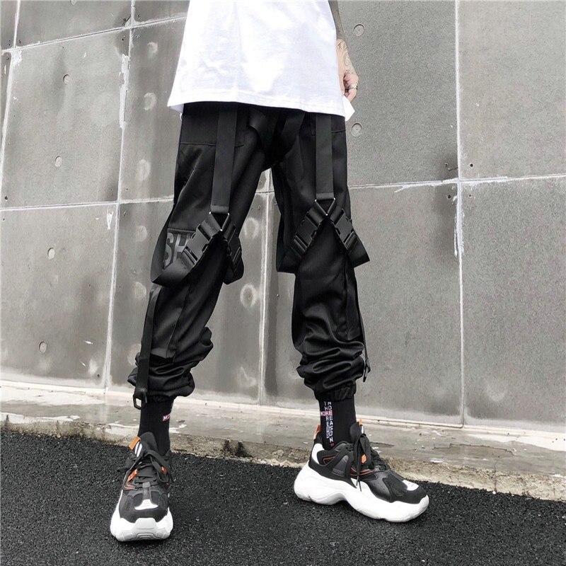Men Hip Hop Black Cargo Pants joggers Sweatpants Overalls Men Ribbons Streetwear Harem Pants Women Fashions Trousers 5