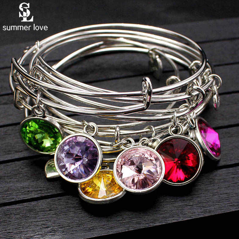 New Colorful Crystal Stone Expandable Wire Bracelets Bangles Birthstone Bracelet Jewelry Birthday Gift DIY