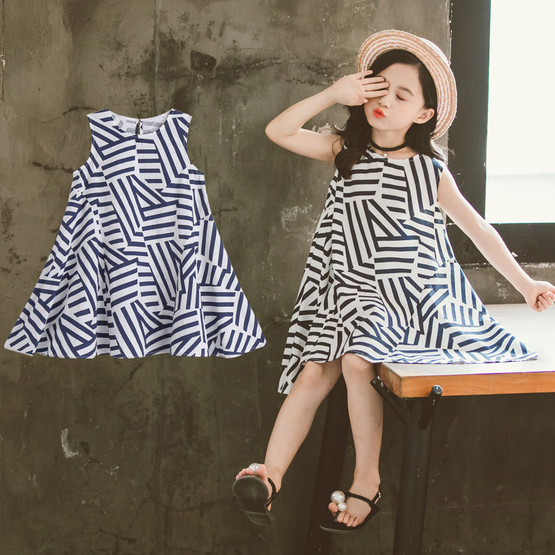 Girls' Summer Clothing Dress 2019 New Style Childrenswear Children Western Style Princess Dress Black And White Stripes Girls' D