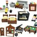 Kompatibel Stadt MOC Bausteine Ziegel Teile Haus Möbel Küche Zubehör Kits DIY Kinder Spielzeug Bett Sofa Klavier Computer