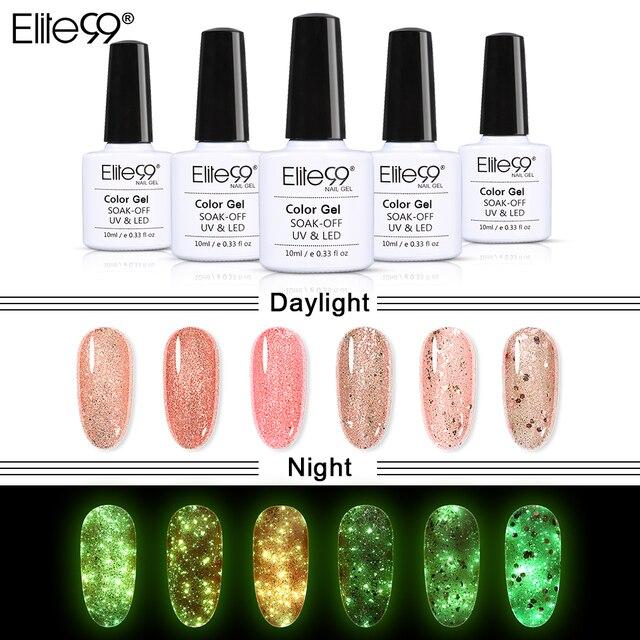 Elite99 Luminous Rose Gold Gel Lack Glow In The Dark Semi Permanent Nagellack Gellak Weg Tränken UV Nägel Gel polnischen Emaille