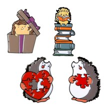 Lovers Enamel Pin Books Gift Love Puzzles Brooch Bag Clothes Lapel Pin Badge Fun Animal Jewelry Gift Kids Friends(China)