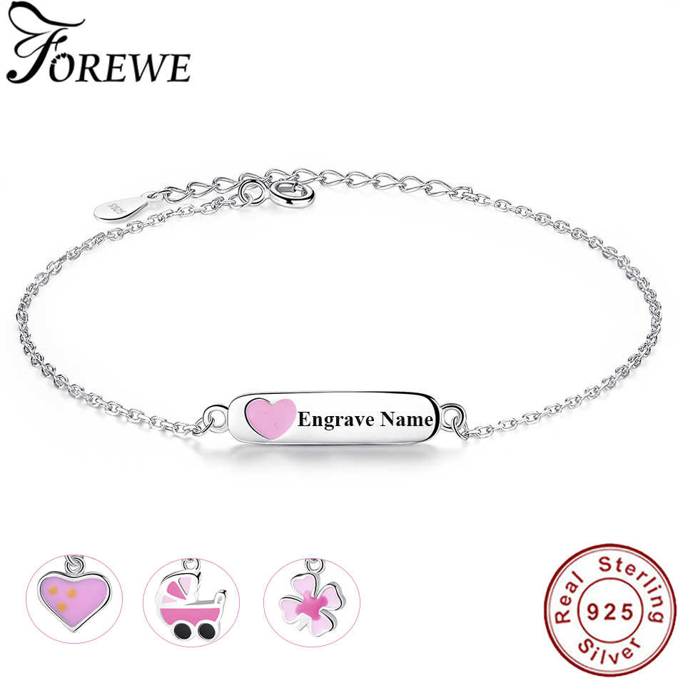 Free Customize Engraved Name Bracelet Personalized Jewelry 925 Sterling Silver Enamel Heart Bracelets for Children Baby Girls