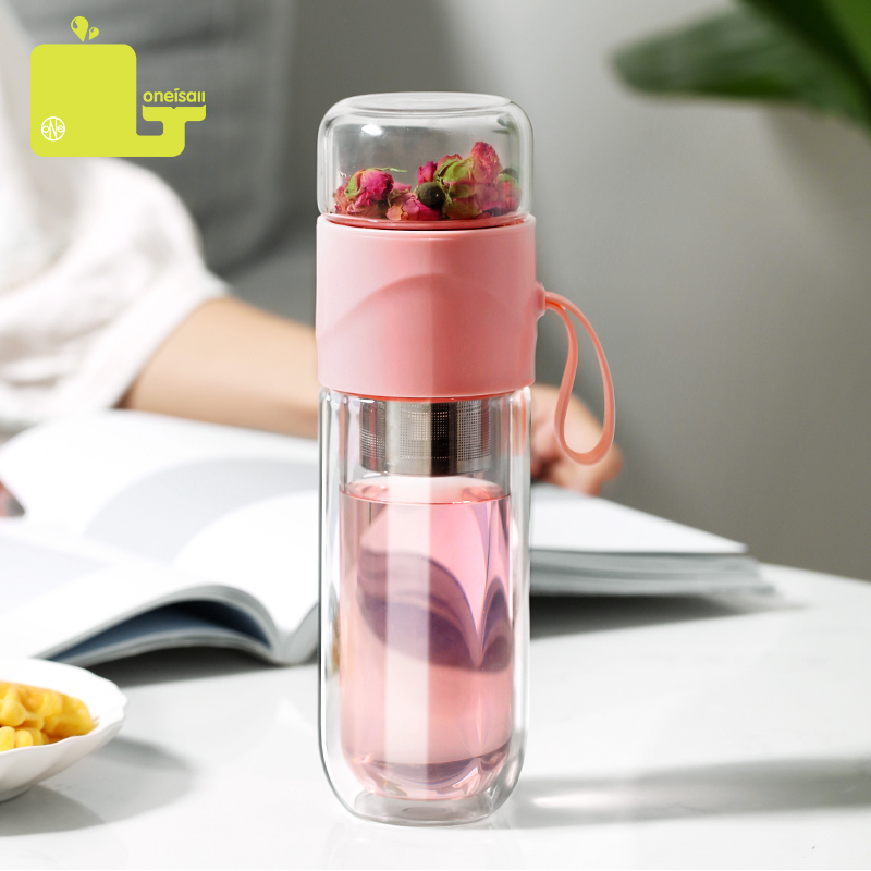 390ml Portable Double Wall Borosilica Glass Tea Infuser Bottle Of Water With Lid Filter Automobile Car Cup Creative Gift Tumbler|Water Bottles|   - AliExpress