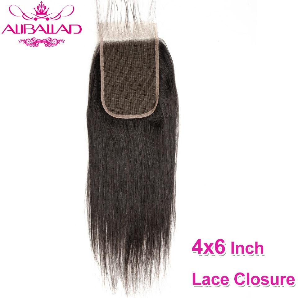 4x6 Lace Closure Straight Human Hair Closure With Baby Hair Indian Remy Swiss Lace Closure Human Hair Aliballad Hair