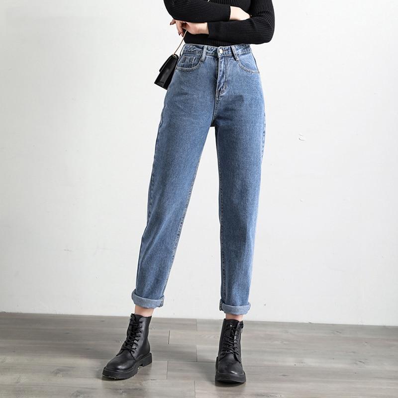 SHIJIA 바지 캐주얼 솔리드 하렘 청바지 발목 길이 바지 2020 봄 여성 청바지 높은 허리 느슨한 데님 청바지 여성|청바지| - AliExpress