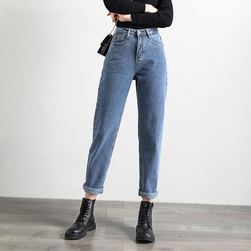 SHIJIA Trousers Casual Solid Harem Jeans Ankle-length Pants 2020 Spring Women Blue Jeans High Waist Loose Denim Jeans Female
